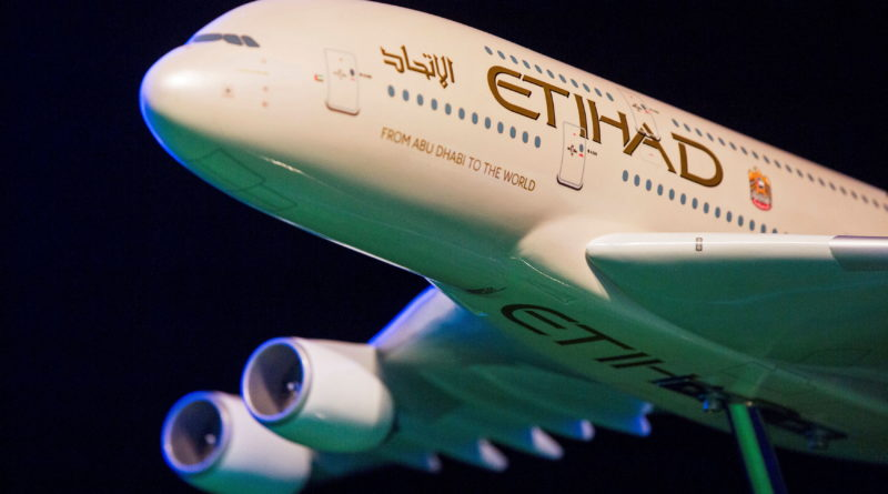 FILE PHOTO: A model Etihad Airways plane is seen in New York, U.S.